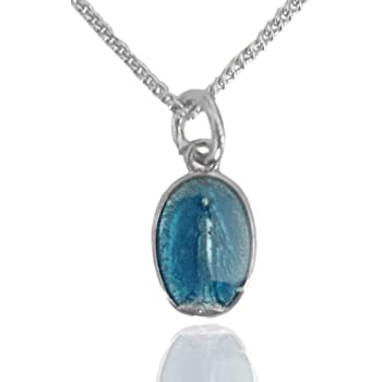 Bonyak Jewelry Sterling Miraculous Medal with Blue Enamel on 18in Rhodium Plated Brass Chain in Deluxe Gift Box.