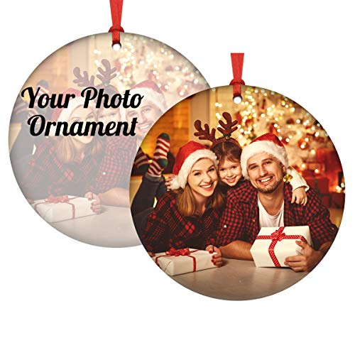 Personalized Christmas Ornament 2021, Custom Photo Ceramic Hanging Christmas Tree Ornaments Print Present for Family