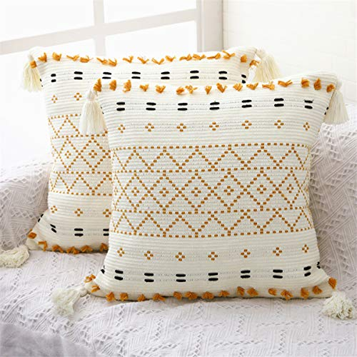 SEEKSEE 2-Pack Boho Throw Pillow Covers, 18 x 18 Inch Natural Cotton Hand-Woven Tufted Decorative Tassel Hug Pillowcase for Sofa Bed Bedroom Living Room