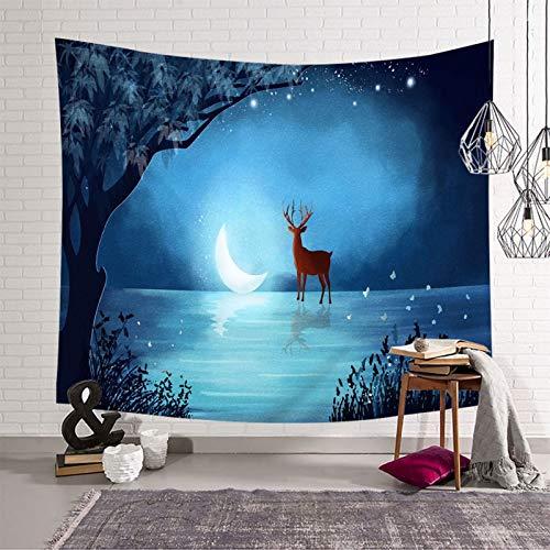 Daesar Tapiz Pared Decoracion,Tapices Decorativos Ciervo y Lago de Luna de Noche Poliéster Tapiz Decoracion Azul Oscuro,260x240CM