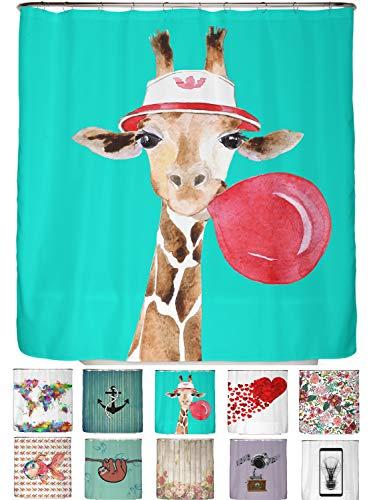 arteneur® - Giraffe mit Brille & Kaugummi - Anti-Schimmel Duschvorhang 180x200 - Beschwerter Saum, Blickdicht, Wasserdicht, Waschbar, 12 Ringe und E-Book mit Reinigungs-Tipps