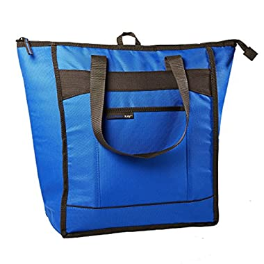 Rachael Ray ChillOut Thermal Tote, Insulated Bag for Grocery Shopping/Entertaining, Transport Hot and Cold Food, Blue