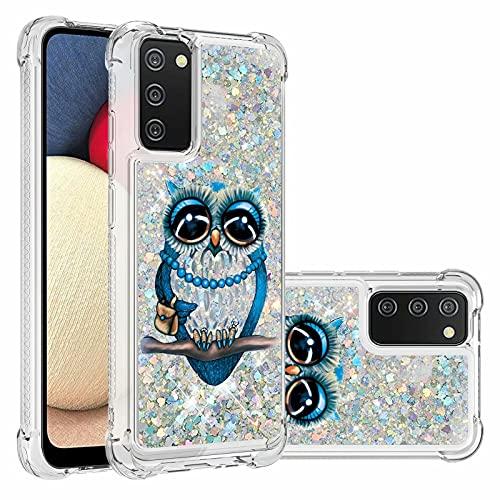 Ttimao Compatible con Funda Samsung Galaxy A02S Flotante Glitter Brillante Liquid Quicksand Case Cristal Suave Silicona TPU Cuatro Esquinas Anti-Caída Cáscara-Gato Gris