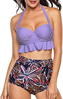 Aixy Women Vintage Two Piece Swimsuits High Waisted...