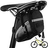 QWEPU Bolsa de Sillín, Bolsa para sillín de Bicicleta, Bicicleta Bolsa de Sillín Portátil Bicicleta Paquete de Cuña para Bicicletas, Elementos Reflectantes para Bicicletas de montaña, Color Negro