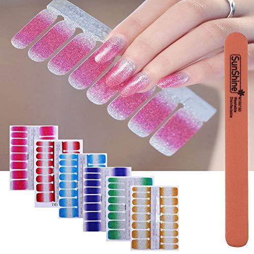 WOKOTO 6Pcs Nail Polish Stickers With 1Pc Nail File Kit Full Nail Tips Nail Self Adhesive Stickers Nail Designs Set