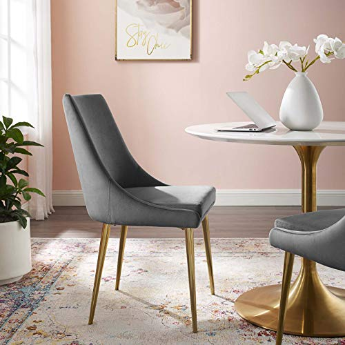 Modway Viscount Performance Velvet Dining Side Chair with Gold Stainless Steel Legs in Gray