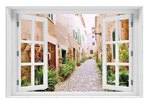 Wallario Wandbild mit Fenster-Illusion: Südländische Gasse mit Alten Häusern und grüner Oase in Premiumqualität Rahmenlos, Größe: 61 x 91,5 cm