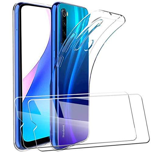 HTDELEC für Xiaomi Redmi Note 8t Hülle +[2 Stück] Panzerglas Schutzfolie,Transparent [Anti-Gelb] Dünn Handyhülle klare weiche TPU Silikon Schutzhülle Tasche HD Panzerglasfolie Glas-Transparent