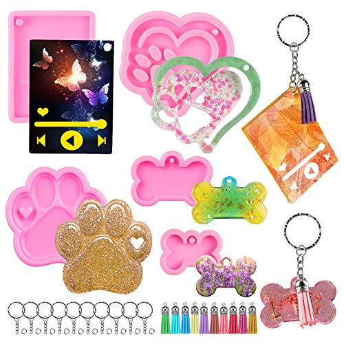 Media Player Keychain Silicone Mold,Dog Paw,Heart Shape and Dog Bone Tag Keychain Epoxy Resin Molds with 10 Tassels,10 Keyrings for DIY Keychain Decoration,Pendant Jewelry,Crafts,Gift