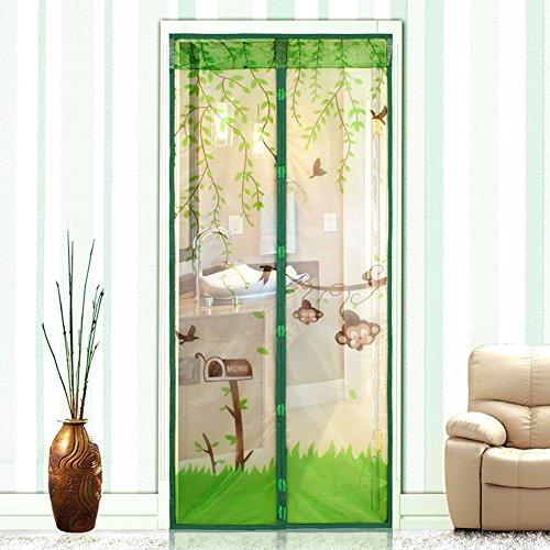Green Monkey Porte d'écran magnétique Full Frame Velcro Magic Mesh Net Rideau anti-moustique, 100 * 210cm