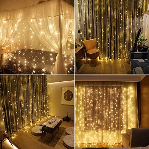 LED Lichtervorhang 6x3m Lichterkette mit 600 LEDs 8 Beleuchtungsmodi Deko für außen Outdoor Hochzeit Party, warmweiß