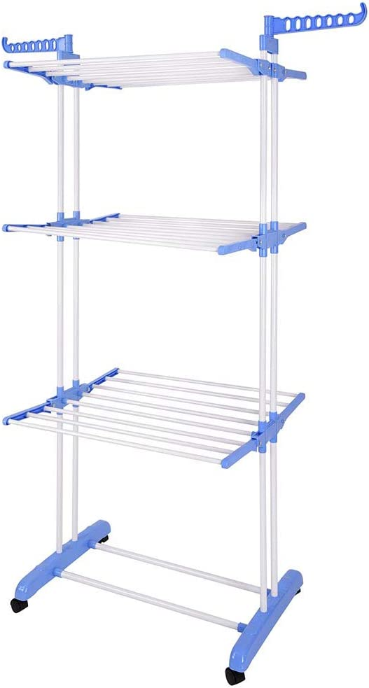 Instahibit Stainless It is very popular 3 Tier Clothes Rolling Collapsi Rack Drying At the price of surprise