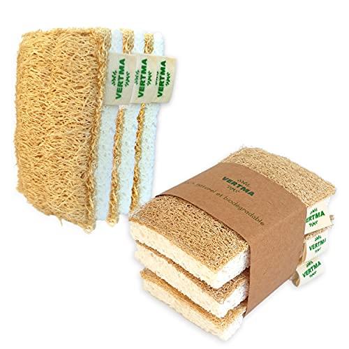 6 Eponges Lavables Reutilisables 100% Naturel, Eponge Vaisselle Souple en Loofah, Biodegradable Et Compostable Eponge Vegetale Durable, Ecologique, Eponge Magique Vaisselle Cuisine, Zero Dechet