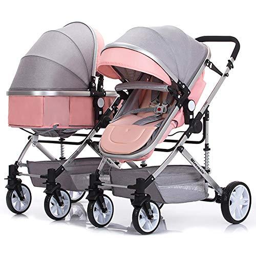 ZJGOODS Abnehmbarer Zwillingswagen, stoßfester, Faltbarer Kinderwagen mit Verstellbarer Rückenlehne, Leichter Neugeborenen Kinderwagen,I