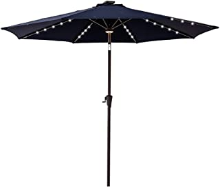 C-Hopetree 9' Solar LED Lighted Outside Patio Market Umbrella for Outdoor Table Balcony Garden Deck Poolside with Tilt, Navy Blue