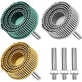 3 Pieces 2 Inch Bristle Brush Disc 50# 80# 120# Bristle Disc Grit Abrasive Coating Removal Disc with 1/4' Shank Attachment, Rubber Abrasive Brush Polishing Grinding Wheel for Burr Rust Removal