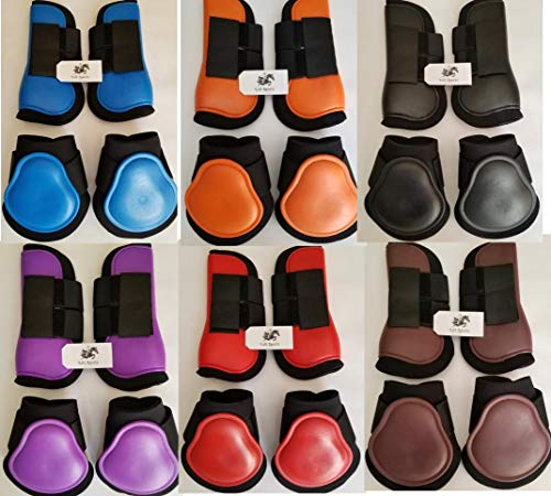 Horse Tendon & Fetlock Boots Jumping Leg Protection Boots Light Weight Support Open Front Brushing (Orange (Set of 4))