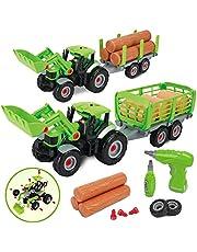 GILOBABY Juguete de montaje para coche, 2 en 1, vehículos de granja para niños, tractor, juguete con remolque, luz de sonido, regalo para niños a partir de 3, 4, 5, 6, 7, 8 años.