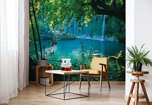 Tropischer Wasserfall Lagune Wald - Forwall - Fototapete - Tapete - Fotomural - Mural Wandbild - (1783WM) - XL - 184cm x 254cm - Papier (KEIN VLIES) - 2 Pieces