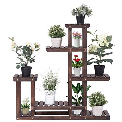 COSTWAY Pflanzenregal Blumenregal, Blumenständer Garten, Blumentreppe Holz, Pflanzentreppe mehrstöckig, Holzregal 100x25x97cm