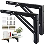 KOOTANS 16 Inch Folding Shelf Brackets, Heavy Duty Wall Mounted Metal Collapsible Shelf Bracket for Bench Table Workbench Supports Space Saving DIY Bracket, Max Load 220LB/100KG, Pack of 2 with Screws