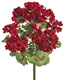 18 Inch Geranium Bush Red, UV Protected Artificial Flowers