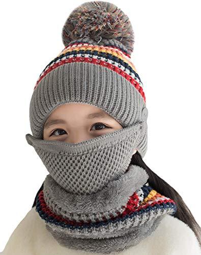 T WILKER Kids Girls/Boys Winter Knitted PomPom Hat Beanie Hat Infinity Scarf Polar Fleece Neck Warmer (Gray)
