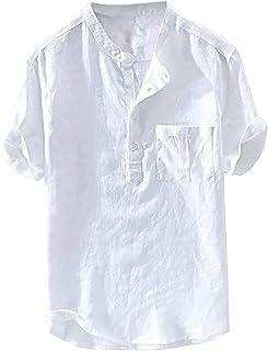Fueri Men's Linen Shirt Short Sleeve Henley Shirt Summer Shirt Shirt Cotton Regular Fit Casual Round Collar with Pockets
