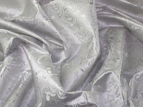 Minerva Crafts Brokat-Stoff, gewebt, metallisch, silberfarben, Meterware