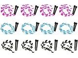 7-Foot Jump Ropes, 12-Pack - Pink, Blue, Black, White Skip...