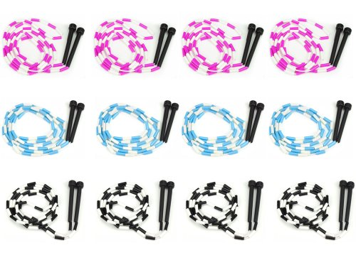 7-Foot Jump Ropes, 12-Pack - Pink, Blue, Black, & White Skip Rope for Exercise - Sports & Outdoor Activities for Kids, Adults, and Athletes - Toys, Games, & Family Fun