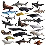 TOYMANY 24PCS Mini Sea Animal Figures, Realistic Ocean Animals Figurines Cake Topper Toy Set with Sharks Whales Octopus, Easter Egg Christmas Birthday Gift Party Favor School Project for Kids Toddlers