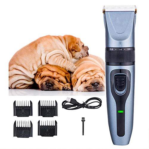 MLyzhe Scheermachine voor honden, professionele hondenschaarmachine, langharig, kat, dierenhaarsnijmachine, stille elektrische tondeuse voor honden en katten met 4 kammen