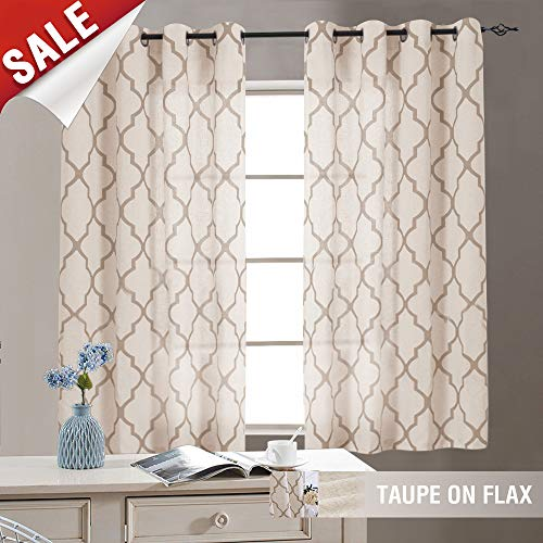 jinchan Moroccan Print Taupe Curtains for Living Room- Quatrefoil Flax Linen Blend Textured Geometry Lattice Grommet Window Treatment Set for Bedroom - 50