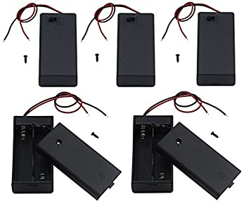 LAMPVPATH 5Pcs 2 AA Battery Holder with Switch 2X 1.5V AA Battery Holder Case with Wire Leads and ON/Off Switch 5 Pack