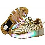 Ehauuo Unisex Kids LED Light up Retractable Roller Skate Sneaker Flashing Wheel Shoes for Girls Boys(5.5 M US Big Kid,A-Golden)