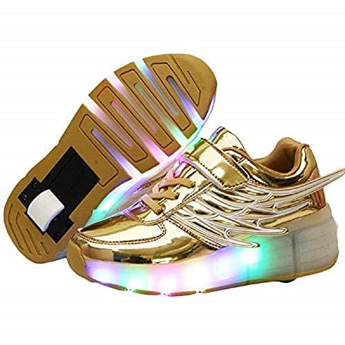 Ehauuo Unisex Kids LED Light up Retractable Roller Skate Sneaker Flashing Wheel Shoes for Girls Boys(12.5 M US Little Kid, A-Golden)