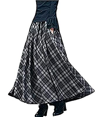 BININBOX Women's Thick Vintage Plaid Pleated Skirt Autumn Winter Long Skirts