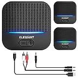 ELEGIANT Receptor Bluetooth 5.0, Adaptador Inalámbrico Audio con Efecto de Sonido 3D, Super Baja Latencia con 20 Horas de Reproducción, Alcance de 50m para Sistema Estéreo, Cable RCA/AUX/USB