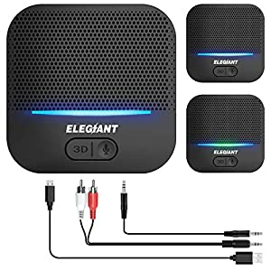 ELEGIANT Bluetooth 5.0 Receiver, Wireless Audio Adapter Support Low Latency 3.5 mm RCA Audio Receiver with Built-in Mic 3D Surround for HiFi Stereo System Home Music Streaming Sound System [Upgraded]