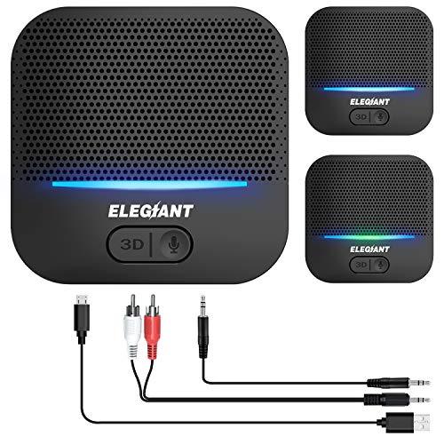 ELEGIANT Bluetooth Empfänger 5.0 Adapter Audio Receiver 3D-Soundeffekt mit Low Latency 20 Stunden Spielzeit 50m Reichweit für Stereoanlage, RCA/AUX/USB Kabel