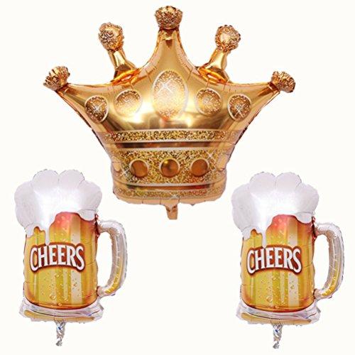 BESTOYARD Party Folienballons Crown und Beer Cups Muster Ballons Geburtstagsfeier Festival Dekore (Beer Cups * 2 und Krone * 1)