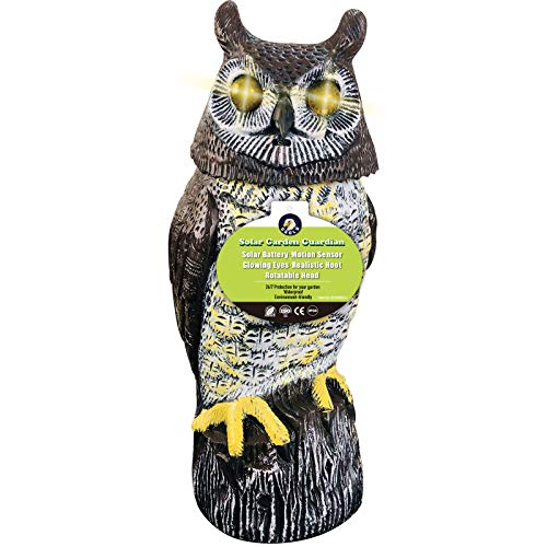 Ugold Solar Garden Guardian - Solar Powered & Motion Activated Scarecrow, Owl Decoy - Rotatable Head, Glowing Eyes, Realistic Sound