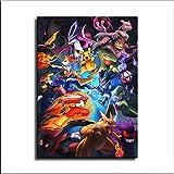 55 pster de Pokemon Go en lienzo y arte de pared con impresin moderna para decoracin de dormitorio familiar, Sin marco, 16x24inch