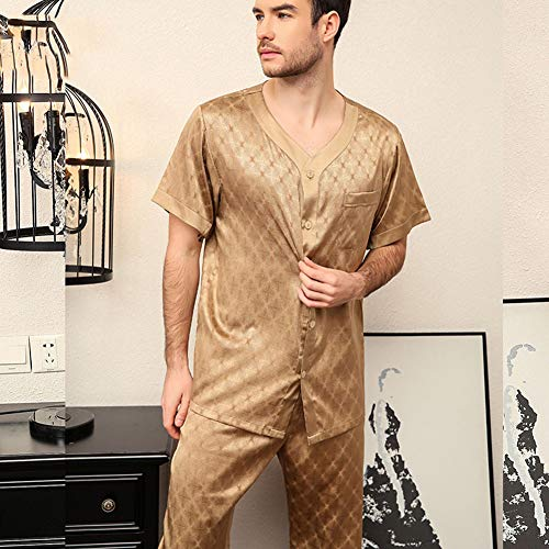 ZWLXY Summer Vintage Print Men's Pajamas Set Leisure Elastic Waist Men Sleepwear Silk Short Sleeve Nightwear Top + Long Pants Homewear,b,L