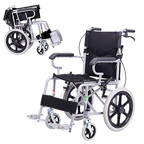 Rolstoel Draagbare Reisstoel gehandicapten Ouderen Lichtgewicht Handmatige Rolstoel Draagbaar Vervoer Vouwen Rolstoel Zwart