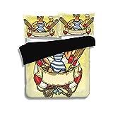 LIS HOME Juego de Funda nórdica Negra, para niñas, Pin Up Sexy Sailor Girl Lifebuoy con capitán Hat y Disfraz Vaso de Cerveza Femenino, Juego de Cama Decorativo de 3 Piezas con 2 Fundas de Almohada