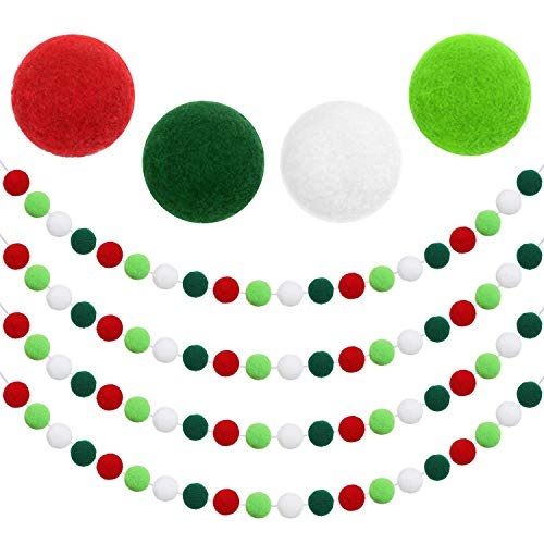 Aneco 4 Pack Christmas Felt Ball Garland Christmas Garland Decorations 80 Pompom Balls Christmas Hanging Bunting Ornament for Tree Fireplace and Wall (Color C)