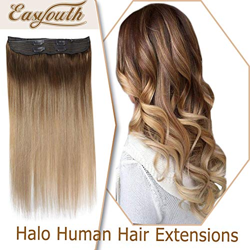 Easyouth Human Hair Halo Extensions 80g 16inch Color 10 Light Brown Fading to 14 Golden Blonde Colored One Piece...